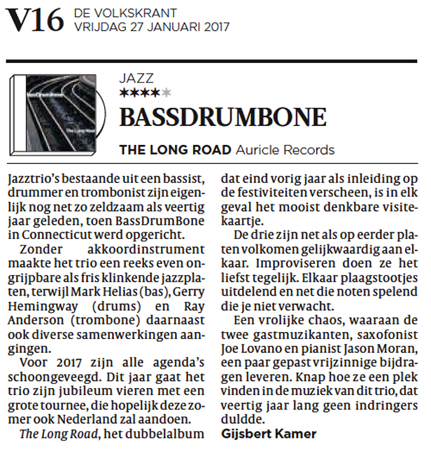 BassDrumBone The Long Road review Volkskrant
